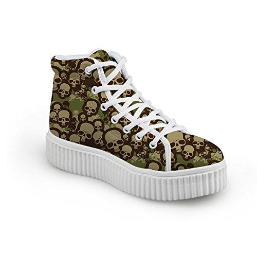 Bigcardesigns Moda Donna Design Teschio Scarpe Da Skate High-top Outdoor Comodo Stile Flat-b1 Verde