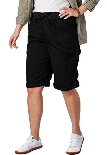 Women's Plus Size Convertible Utility Shorts (Drawstring Capri Shorts)