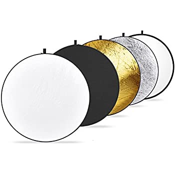 """Upland Photography Collapsible Multi-Disc Light Reflectors, 24""""(60cm) 5-in-1:Translucent, silver, gold, white, and black"""