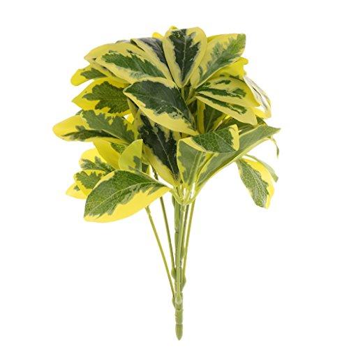Homyl All Green/Yellow Edge Bunch Artificial Green Leaves Bouquet Flower Vine Garden Wedding Decoration - Yellow Edge, 30cm