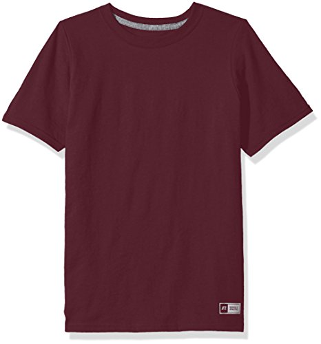 Russell Athletic Boys' Big Performance Cotton Short Sleeve T-Shirt, Maroon, M