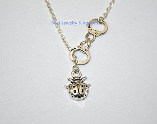 (Handcuff Necklace HANDCUFF-NECK ,Silver Ladybug Necklace Teen Jewelry Tween Jewelry Ladybug Jewelry Ladybug Gift Teen Gift Tween Gift best gift Pendant Necklace,Simple Necklace, charm necklace )