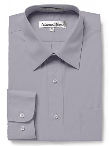 Gentlemens Collection Men's Regular Fit Long Sleeve Solid Dress Shirt,Light Grey,17.5 inches Neck 34/35 inches Sleeve ()