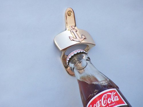 Solid Brass Wall Mounted Nautical Bottle Opener with Anchor by GSM - Nautical Bottle Opener