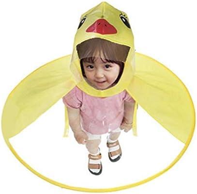 معطف المطر لطيف من Aomerrt معطف مطر للأطفال مطبوع عليه صورة البطة الكرتونية Ufo قبعة مظلة للأطفال بدون يدين سحرية للأولاد والفتيات ومقاوم للرياح Amazon Ae