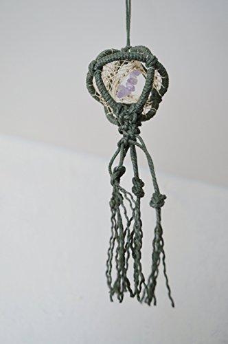 - Amethyst Green Macrame Rear View Mirror 3D Dream Catcher Handmade