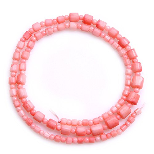 3-6mm Dyed Semi Precious Graduated Pink Coral Gemstone Beads for Jewelry Making Strand 15