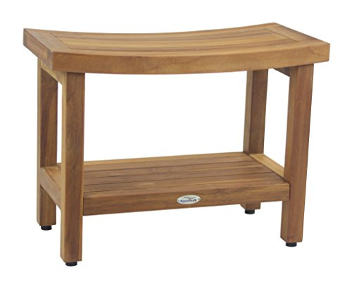 (FULLY ASSEMBLED) Sumba 24″ Teak Shower Bench with Shelf For Sale