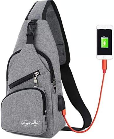 Sling bag: cross body sling shoulder bag Chest bag with USB charging port Size: Height 6.7 13 x Width x Side