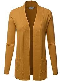 Women's Open Front Pockets Knit Long Sleeve Sweater...