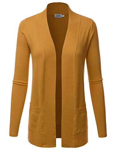LALABEE Women's Open Front Pockets Knit Long Sleeve Sweater Cardigan-Mustard-L