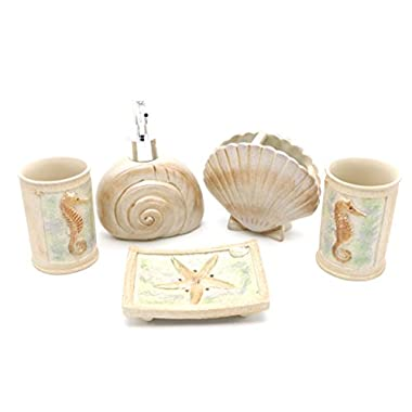 Hot San Resin 5 Pieces Bathroom Accessory Set - Ocean Seashell And Seahorse Design ,Bathroom Vanities,Home Decor