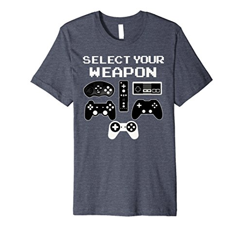 Mens SELECT YOUR WEAPON Fun Video Game Shirt