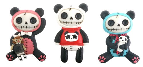 YTC Pandie Magnets Set of 6 Panda Furry Bones Decoration Decor Collectible by Summit