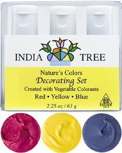 India Tree Natural Decorating Colors, 3 bottles(red,yellow,blue)2.25 oz/63 grams by India Tree