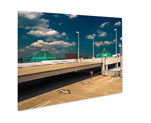 Ashley Giclee Metal Panel Print, Parking Garage And Domes On The Roof Of Towson Town Center Mary, Wall Art Decor, Floating Frame, Ready to Hang 16x20, - Mall Towson Maryland