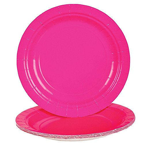 25 Round Birthday ~ Theme Party ~ Dinner/Lunch Paper Plates (7 Inch, Hot Pink) (Cheap Hot Plates compare prices)