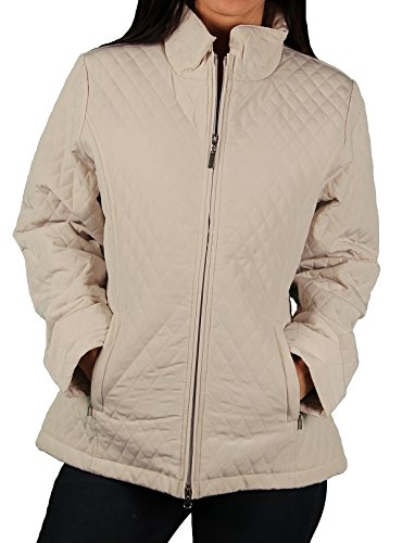 Vantage Misses Quilted Car Coat, Latte, Size 3X-Large - Quilted Car Coat