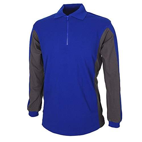 Kübler Arbeit Shirt mit Reißverschluss, 1 Stück, XS, kornblumenblau / anthrazit, 51196213-4697-XS