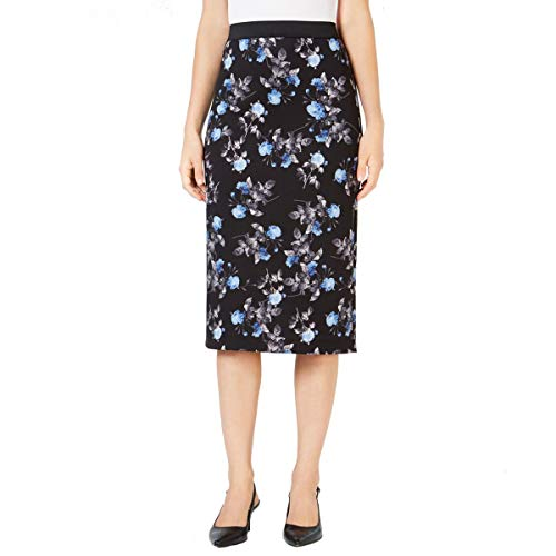 Alfani Womens Floral Print Metallic Scuba Skirt Black XL