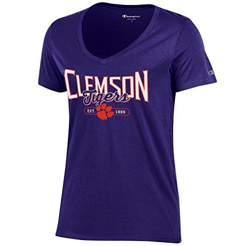 - Champion NCAA Women's University Short Sleeve Tagless Lady's V-Neck Tee, Clemson Tigers, Small