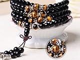 Tiger Eye Crystal Gemstone Bracelet Tibet Buddhist Buddha Meditation 108 Prayer Bead Mala Bracelet/Necklace by Rienar