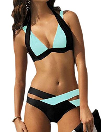 Sanksk Sexy hot Women's Sexy Criss Cross Bandage Push Up Bikini Swimsuit Light BlueL(US Size 8-10) Charming