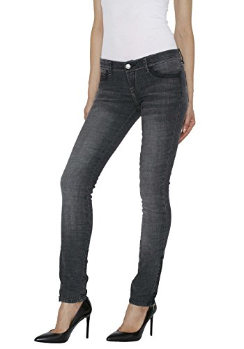 Star Flare Jean - Blue Star Women's Skinny Straight Cut Black Jeans - Distressed Stretch, Mid Rise, Fitted Cut Black Zip Cuff Size 26