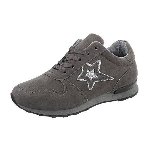 low Grigio da Sneakers Sneaker Scarpe donna N861j piatto Design Ital n8XH4xqpwx