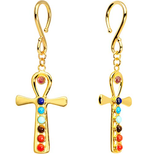 Body Candy Handcrafted 3.2mm Ear Hanger 2Pc Gold Plated Pewter Color Accent Chakra Egyptian Ankh Dangle Ear Weights 8 Gauge
