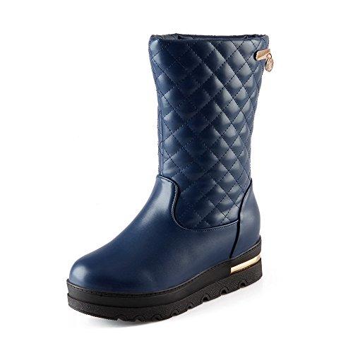 Blue Boots Pull On PU Allhqfashion Heels Solid Toe Closed Kitten Round Women's Zxvfxwq8P