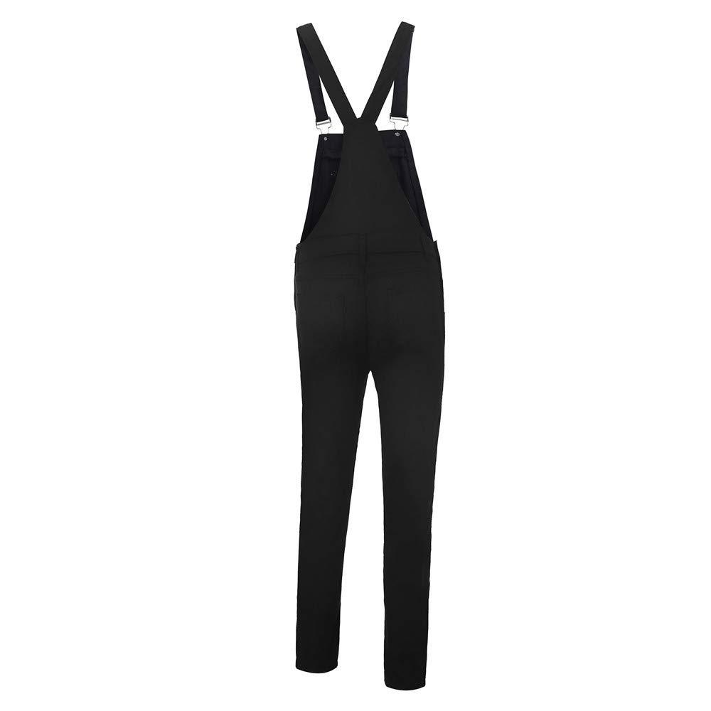 Kehen Women Distressed Stretch Overalls Fashion Denim Bib Pants Black Small by Kehen Women (Image #5)