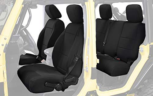 King 4WD Neoprene Seat Covers, Black/Black - JK 4 Door 2013-2018 Jeep Wrangler Unlimited