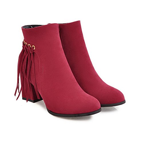 BalaMasa Ankle Red Fringed Heels ABL10664 Womens Boots High Square Urethane OrHOq