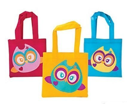 amazon com owl party favor tote bags 12 ct toys games