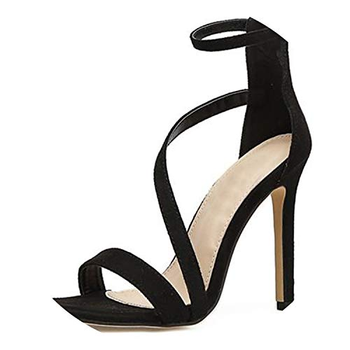 HANBINGPO Big Shoe Size 41 42 New Sexy Design Women Line Style Buckle Thin High Heels Black Faux Suede Open Toe Dress Sandals,Black,9 ()