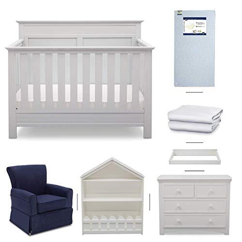 Crib Furniture - 7 Piece Nursery Set with Crib Mattress, Convertible Crib, Dresser, Bookcase, Glider Chair, Changing Top, Crib Sheets, Serta Fall River - White/Navy