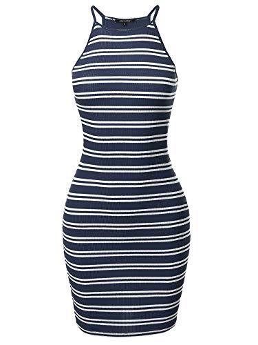(Awesome21 Stripe Print High Neck Ribbed Body-Con Mini Dress Navy White L)