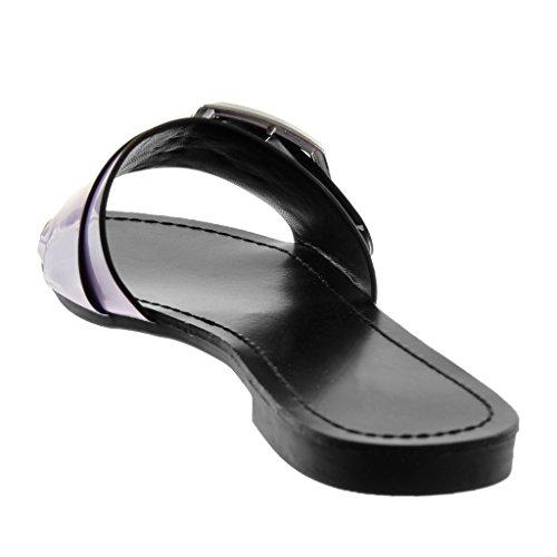 Angkorly Damen Schuhe Sandalen Mule - Slip-On - Schleife - Metallisch - Patent Blockabsatz 1.5 cm Lila
