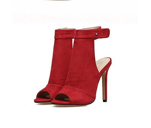 Einzelne KHSKX 8 Wildleder Rote Schuhe Sommer Sandalen Thirty 5Cm Mund Schuhe Ferse six Fisch Im qwInB4Fwr