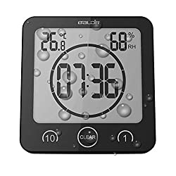 Digital Shower Clock with Timer Temperature Humidity Monitor Function, Waterproof Bathroom Clock for Water Spray, Special Mirror Suction Clock [Touch Screen] [Table Desk Stand or Wall Hanging] (Black)