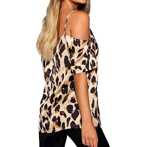 spalle donna scoperte stampa topkeal Camicetta top con con leopardata marrone da PWXSzSn