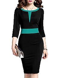Women's 2/3 Sleeve Colorblock Slim Bodycon Business Pencil Dress