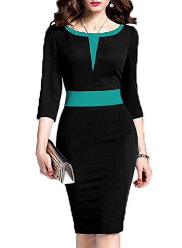 WOOSEA Women's 2/3 Sleeve Colorblock Slim Bodycon Business Pencil Dress (XX-Large, Black) (Womens Washable Business Suits)