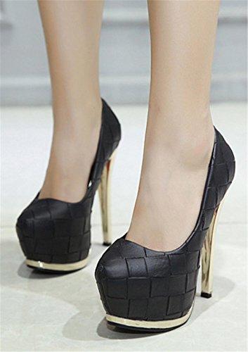 Mujer Nuevo Zapatos de tacón alto Stiletto Simple boca baja Patrón de piedra impermeable PU artificiales bombas Corte Zapato Fall Spring Nightclub Party Work Black