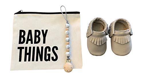 for Boys, Girls, Unisex | 5-Piece Baby Gifts for Newborns, Infants, 1 Year Olds | Including Moccasins, Silicone Pacifier Clip & Teether, Canvas Bag, Greeting Card & Premium Gift Box