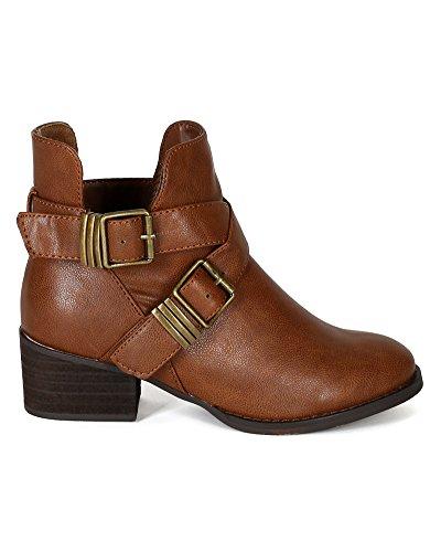 AD94 Out Designer Ankle Breckelles Tan Toe Cut Women Leatherette Bootie Round 4qdxH1wx