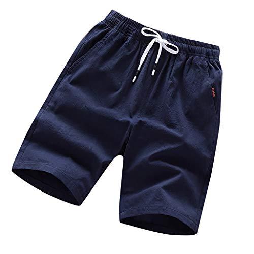 Pants Men Casual Classic Fit Drawstring Summer Beach Shorts Elastic Waist with Pocket