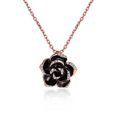 Scheppend Gold Plated Rose Flower Black Paint Rhinestone Crystal Pendant Necklace