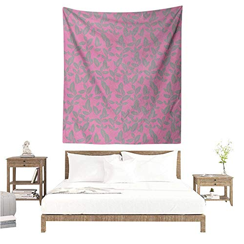 (WilliamsDecor Hall Tapestry Floral Big Grey Flower Petals on Pink Background Falling Leaves Natural Theme Artwork 70W x 84L INCH Suitable for Bedroom Living Room Dormitory )
